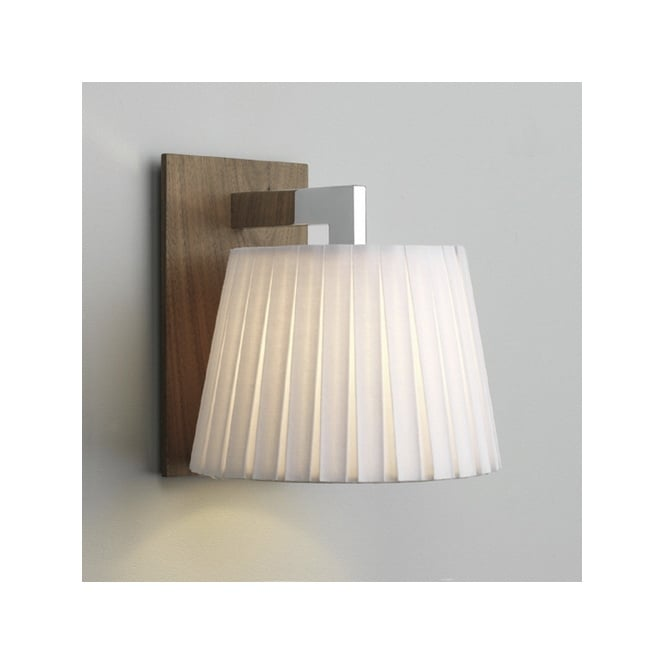 NOLA contemporary wooden wall light with white shade