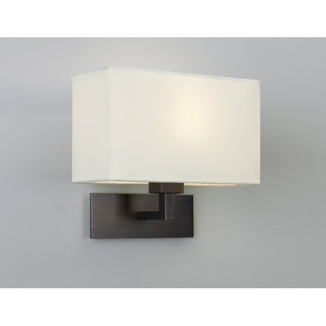 PARK LANE GRANDE modern bronze hotel style wall light with white fabric shade