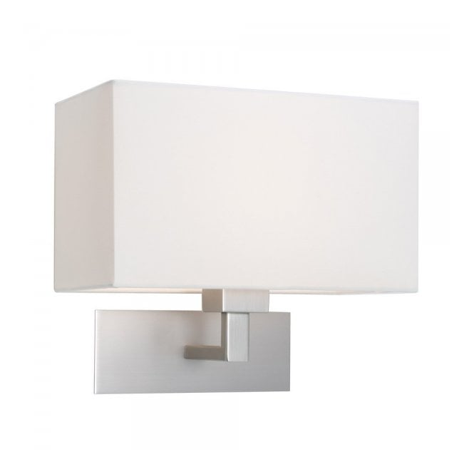 Astro PARK LANE GRANDE modern matt nickel hotel style wall light with white fabric shade