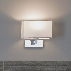 contemporary polished chrome bathroom wall light with white shade