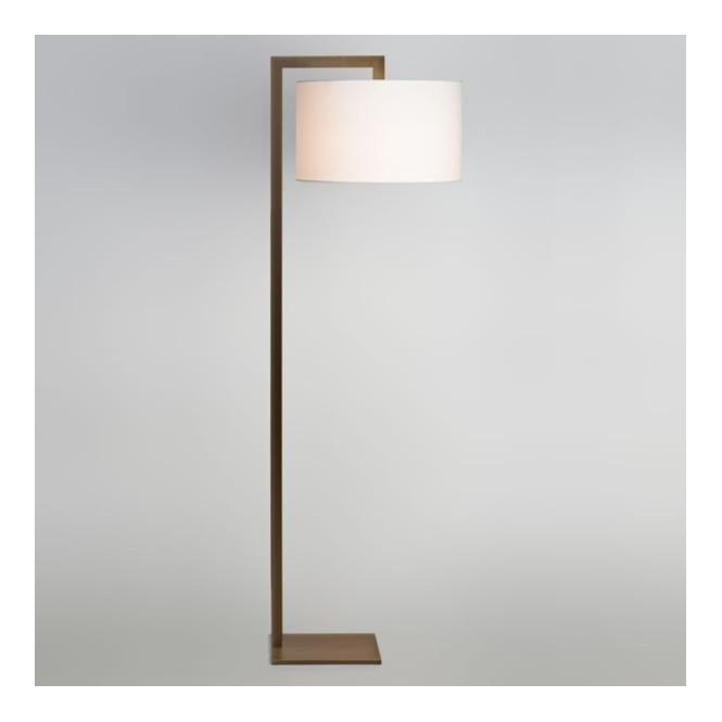 Contemporary Bronze Floor Lamp With Silk Shade