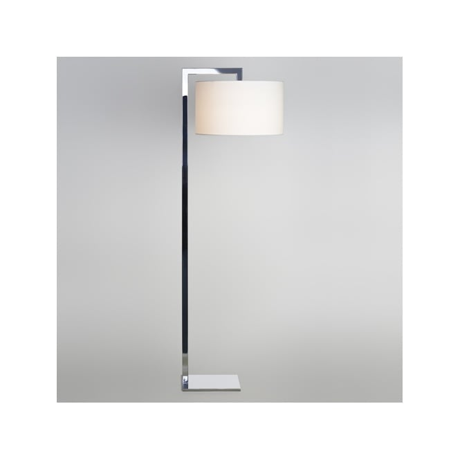 RAVELLO contemporary floor lamp with shade (chrome)