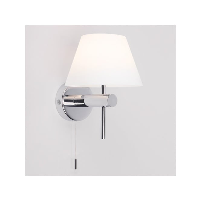 ROMA SWITCHED polished chrome bathroom wall light with opal glass shade