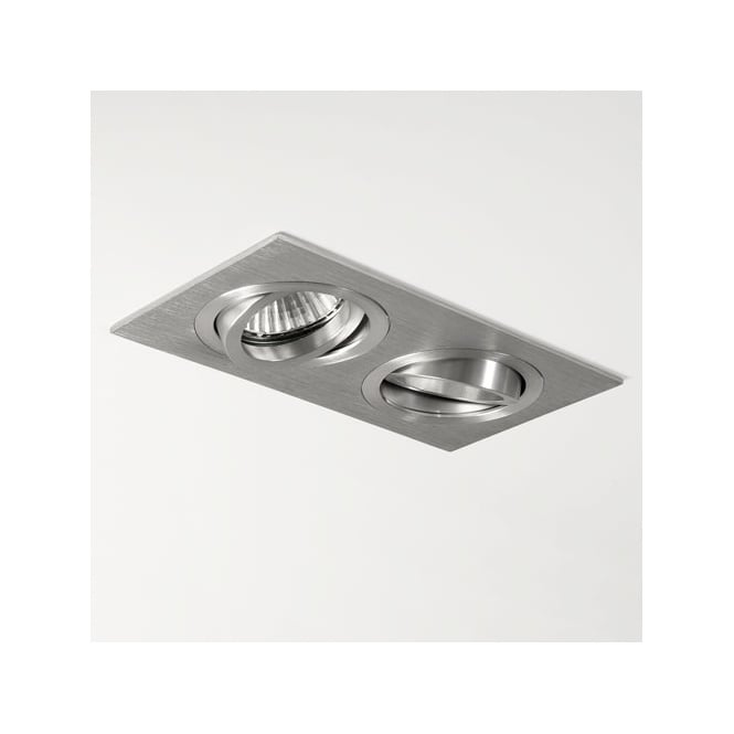 Contemporary brushed aluminium twin recessed spot light taro twin recessed spot light in brushed aluminium aloadofball Gallery