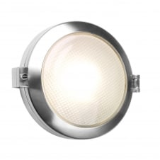 polished aluminium exterior round bulkhead light