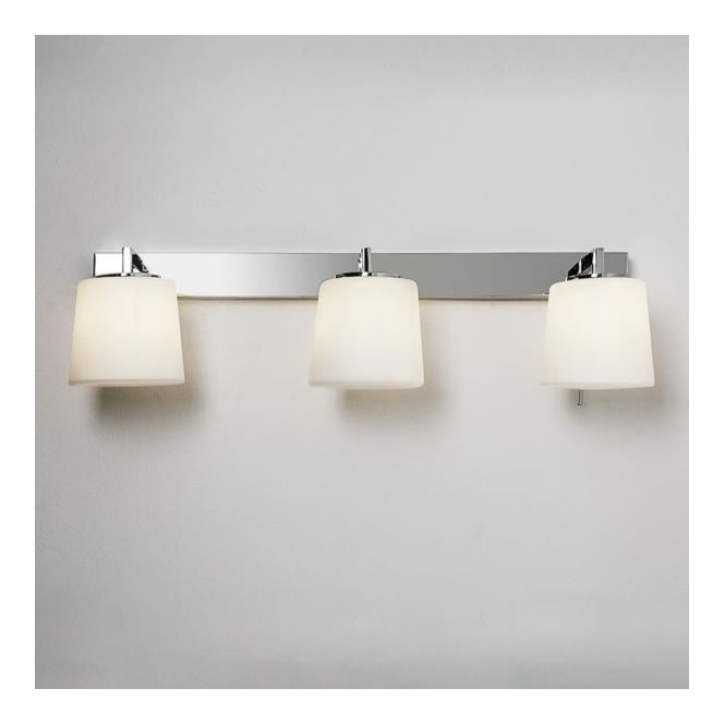 Contemporary 3 light bathroom wall light in polished chrome triplex 3 light bathroom wall light in chrome with opal glass aloadofball Choice Image