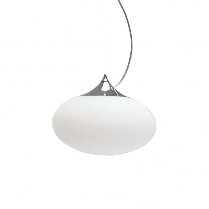 Astro ZEPPO contemporary chrome ceiling pendant with opal glass oval shade