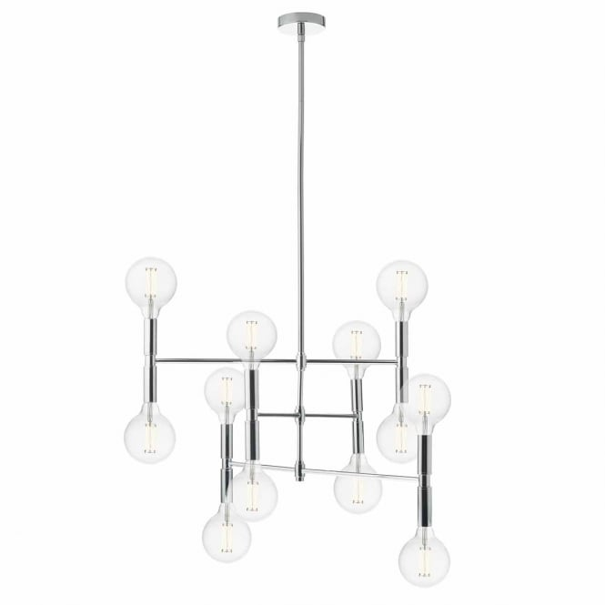 ATHENA 12 light modern ceiling pendant in polished chrome