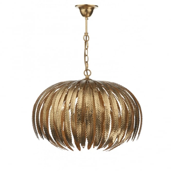 ATTICUS gold ceiling light, leaf design pendant
