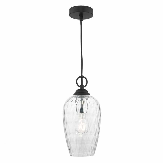 AUGSURG ceiling pendant with black suspension and textured glass