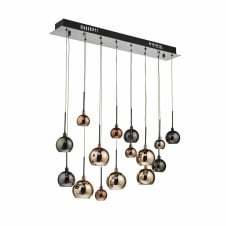 15 light copper glass ceiling pendant cluster
