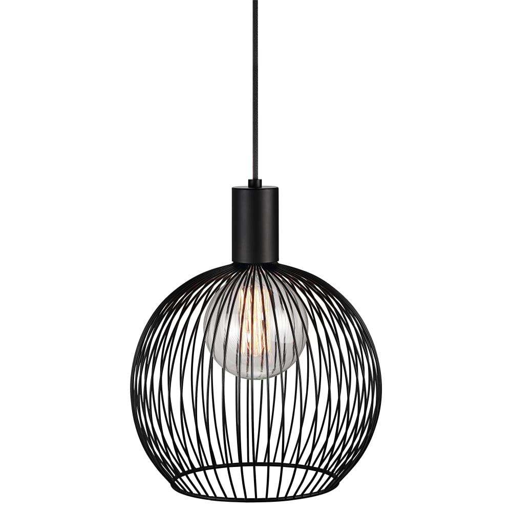 Modern Small Wire Frame Globe Pendant in Black
