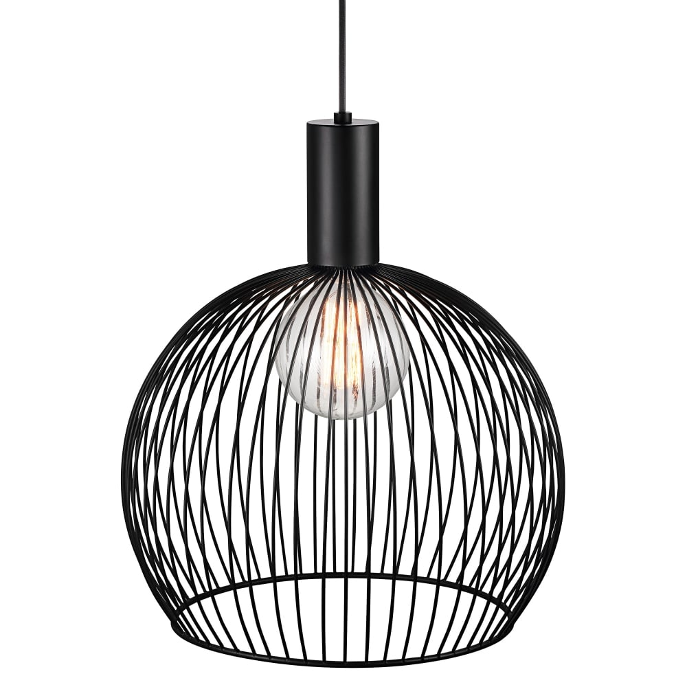 Modern Medium Wire Frame Globe Pendant in Black