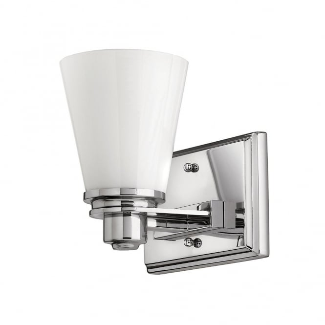 Bathroom Lights Art Deco: Classic Art Deco Inspired Wall Light In Chrome With Opal