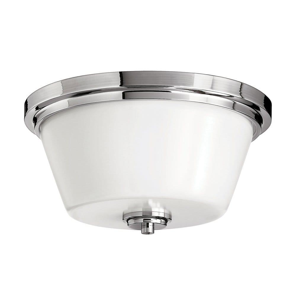 Classic Art Deco Inspired Flush Bathroom Ceiling Light In Chrome