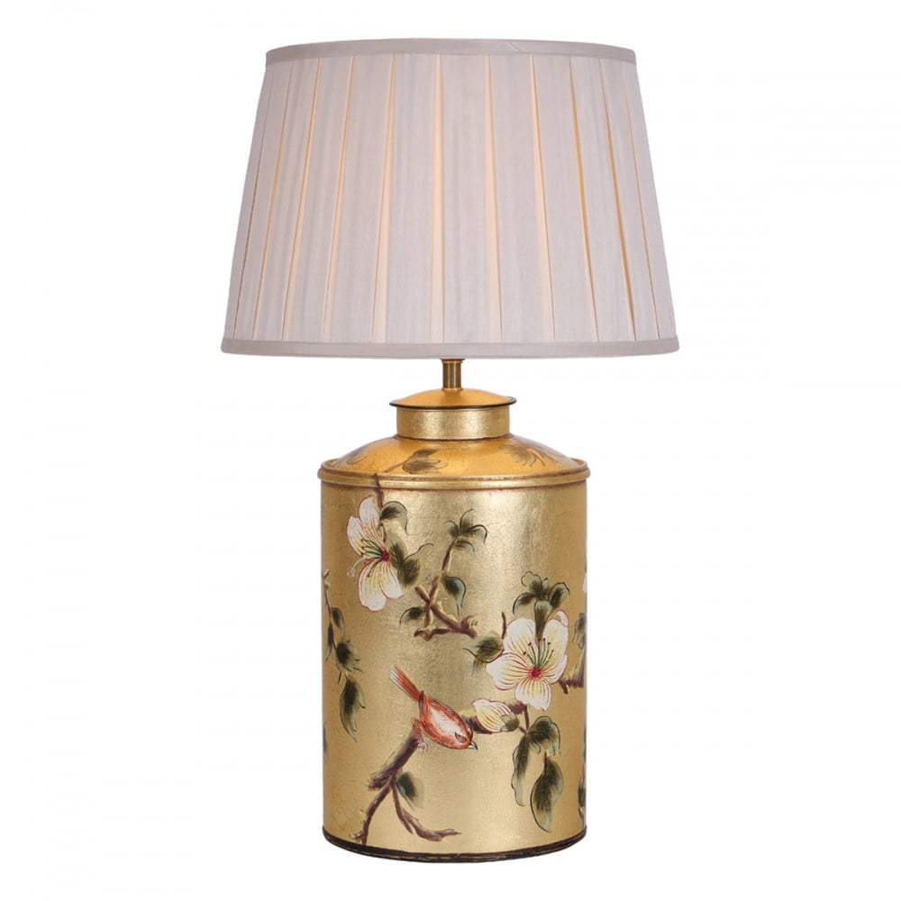 Decorative Gold Table Lamp Base With Floral And Bird Design