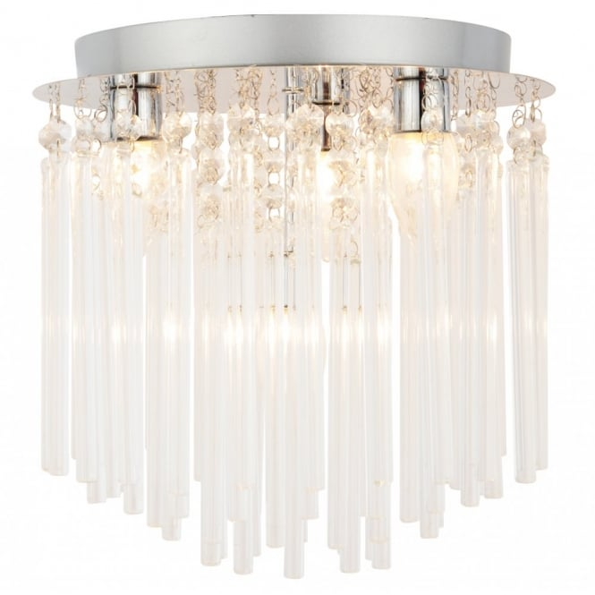 Bagno URSA decorative chrome and clear glass bathroom chandelier ceiling light