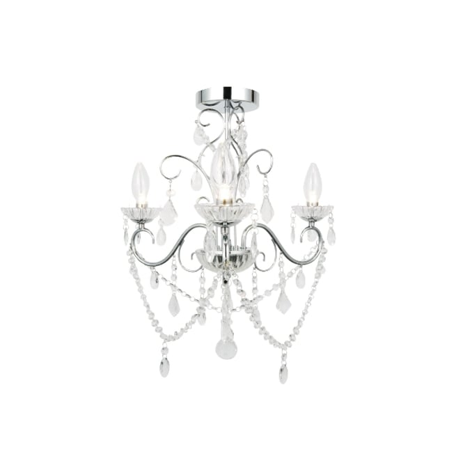 Bagno VELA 3 light chrome & glass bathroom chandelier