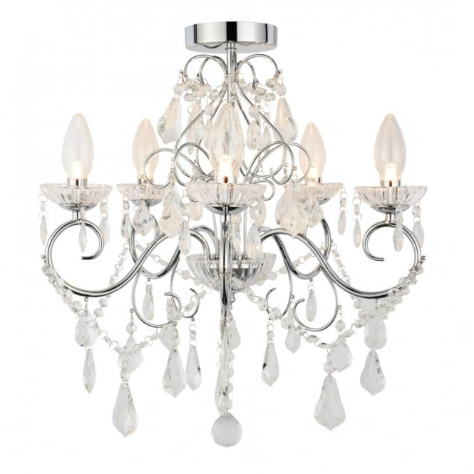 Traditional chrome glass bathroom chandelier 5 light bathroom chandelier in chrome with crystal glass droplets aloadofball Image collections