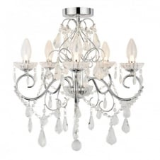 VELA 5 light chrome & glass bathroom chandelier