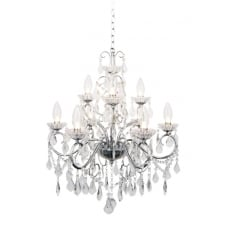 Bathroom Chandelier in Polished Chrome with Crystal Glass Droplets