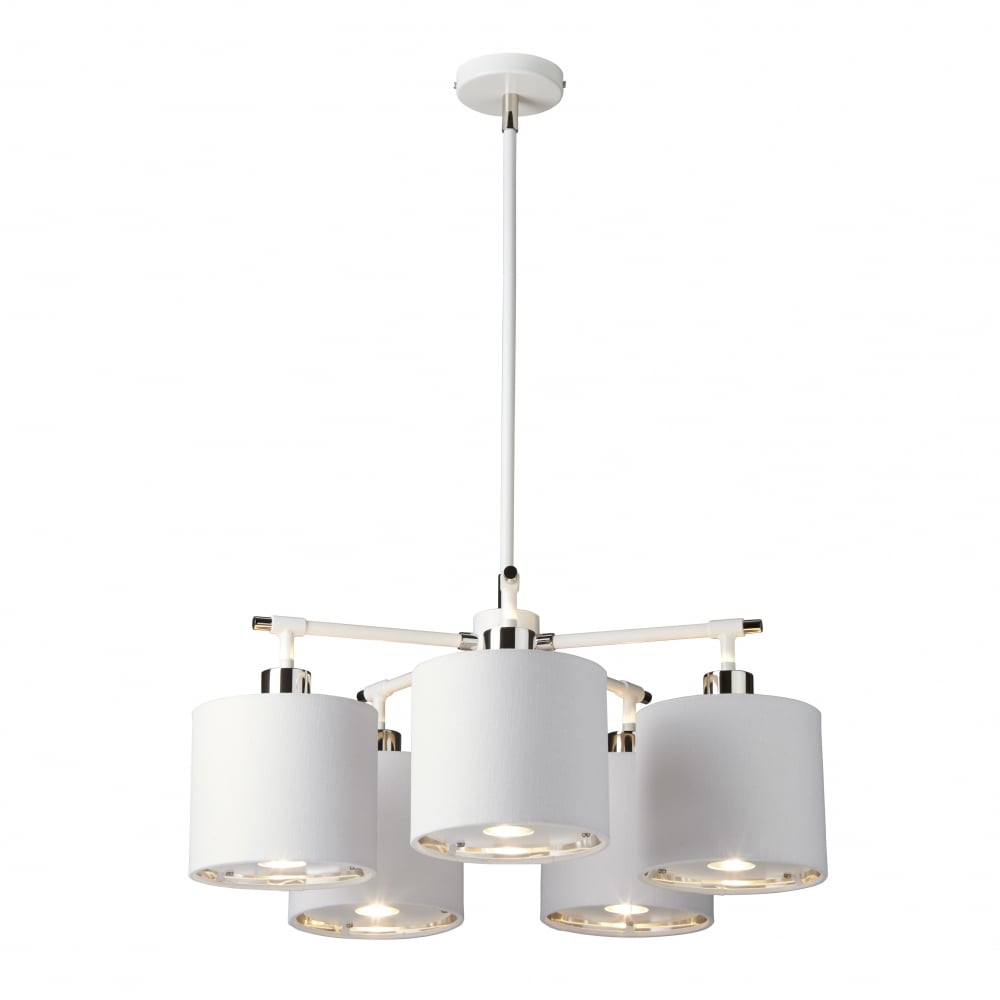 Elstead Lighting BALANCE Contemporary White And Polished Nickel Chandelier