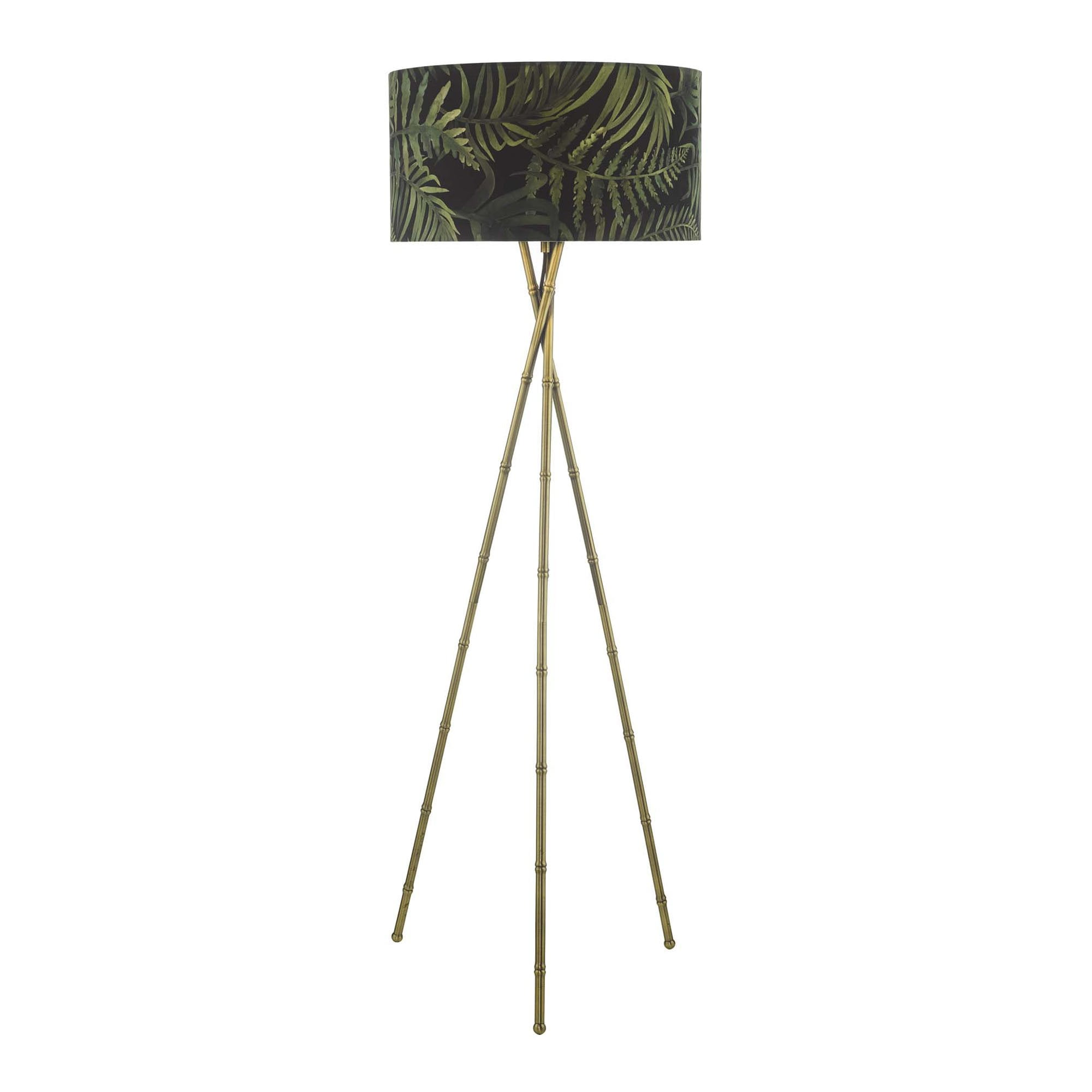 Antique Brass Bamboo Style Tripod Floor Lamp Base