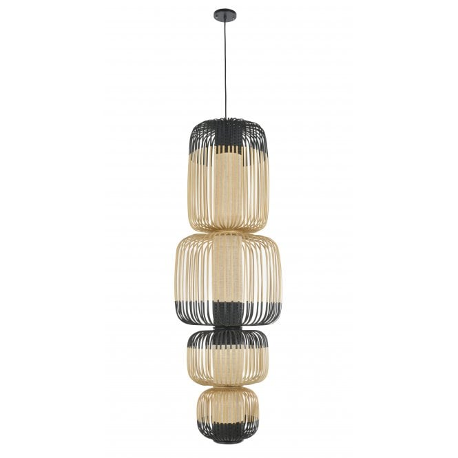BAMBOO large natural strip 4 light stacked ceiling pendant with black detailing