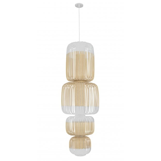 BAMBOO large natural strip 4 light stacked ceiling pendant with white detailing