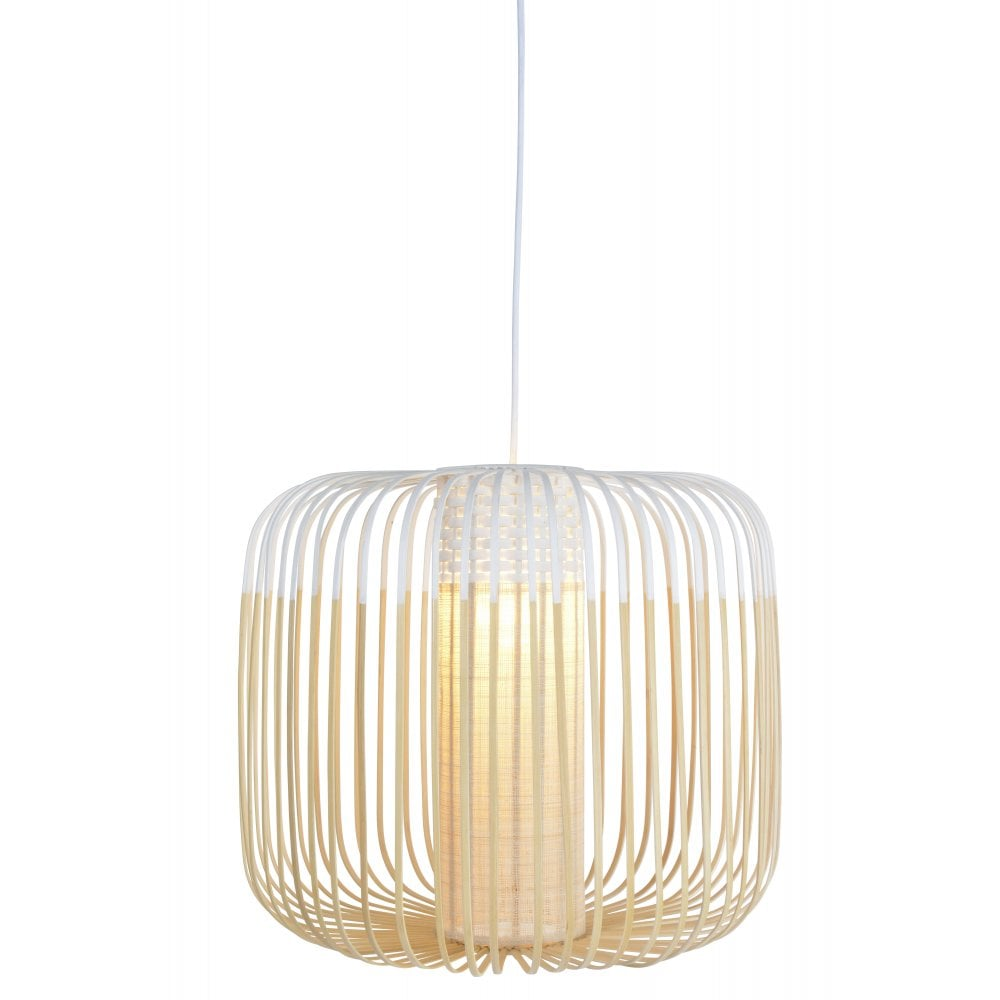 newest f3e83 3fc16 BAMBOO natural strip ceiling pendant with white detail