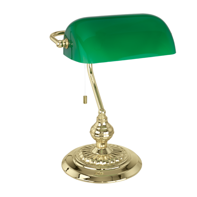 Traditional Brass Bankers Lamp With Green Glass Shade