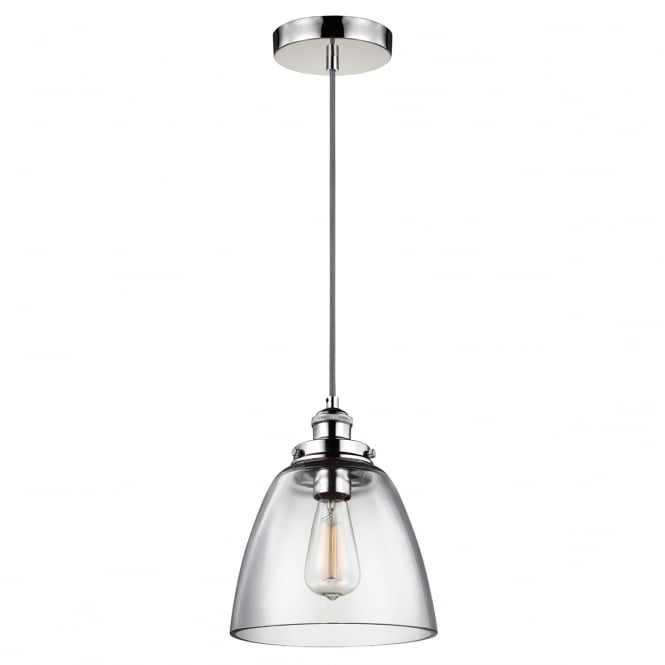 BASKIN single contemporary pendant in polished nickel with clear glass shade