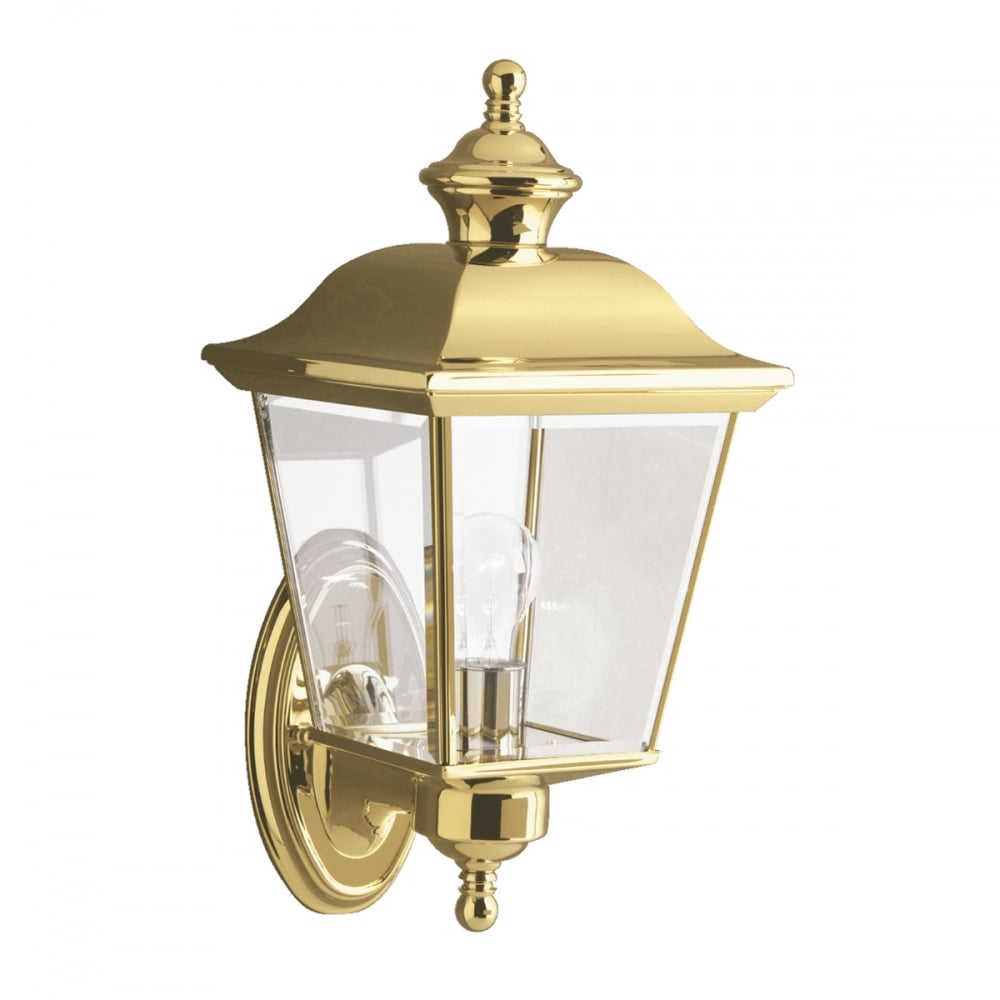 Medium Traditional Polished Brass Outdoor Wall Lantern Clear Glass
