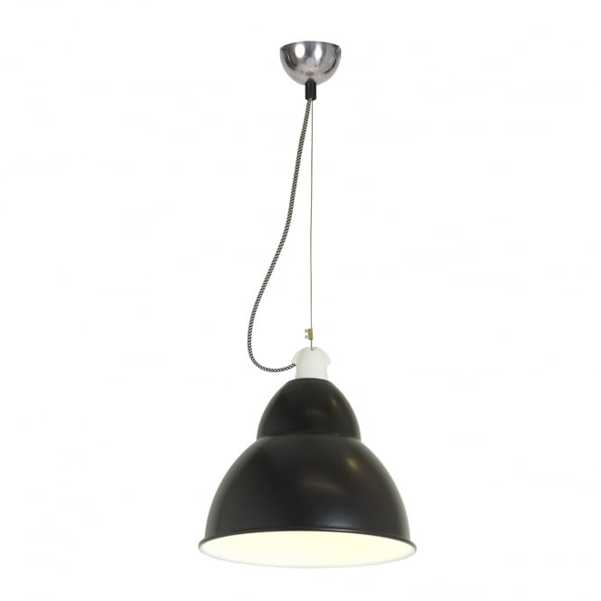 BB1 single industrial style ceiling pendant light in a black finish