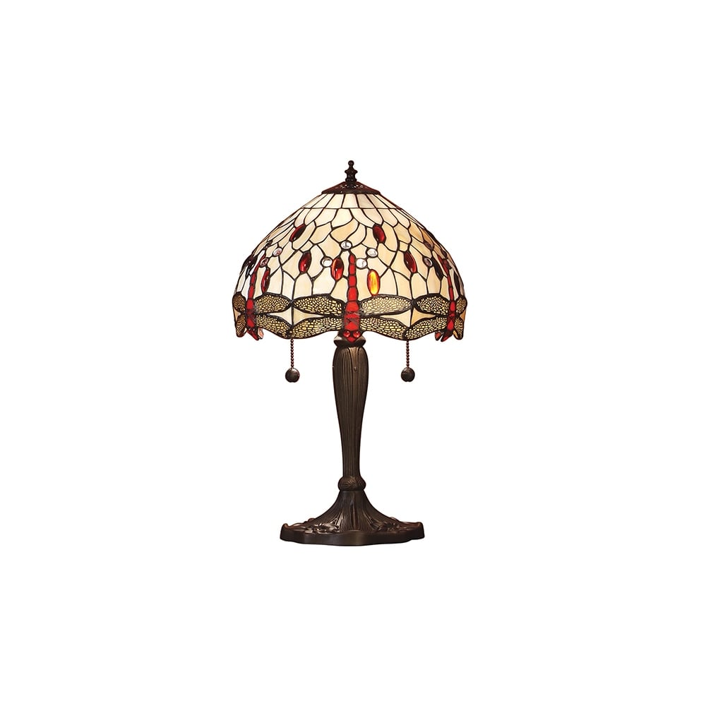 Tiffany Art Nouveau Stained Glass Table Lamp With Bronze Effect Base