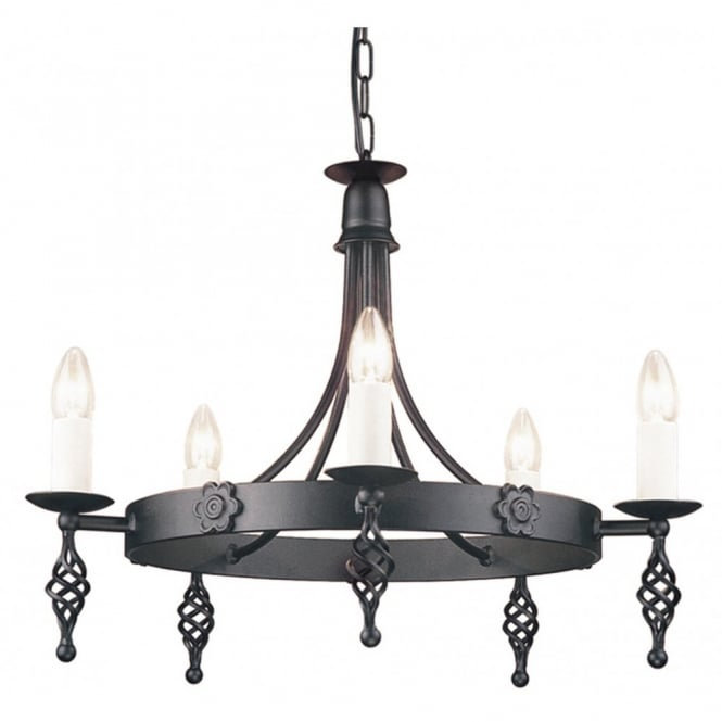 BELFRY medieval design black metal 5 light ceiling light