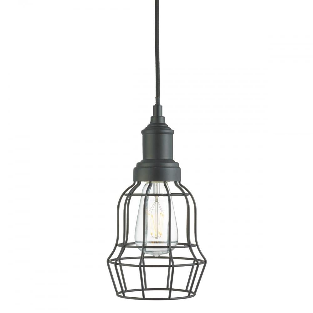 Smartwares Industrial Es Pendant Light Black Bronze: Industrial Style Matt Black Cage Ceiling Pendant