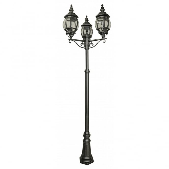 Belle aire black aluminium garden lamp post belle aire black aluminium 3 light garden lamp post aloadofball Image collections