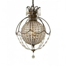 BELLINI circular globe chandelier, bronze with antique crystal