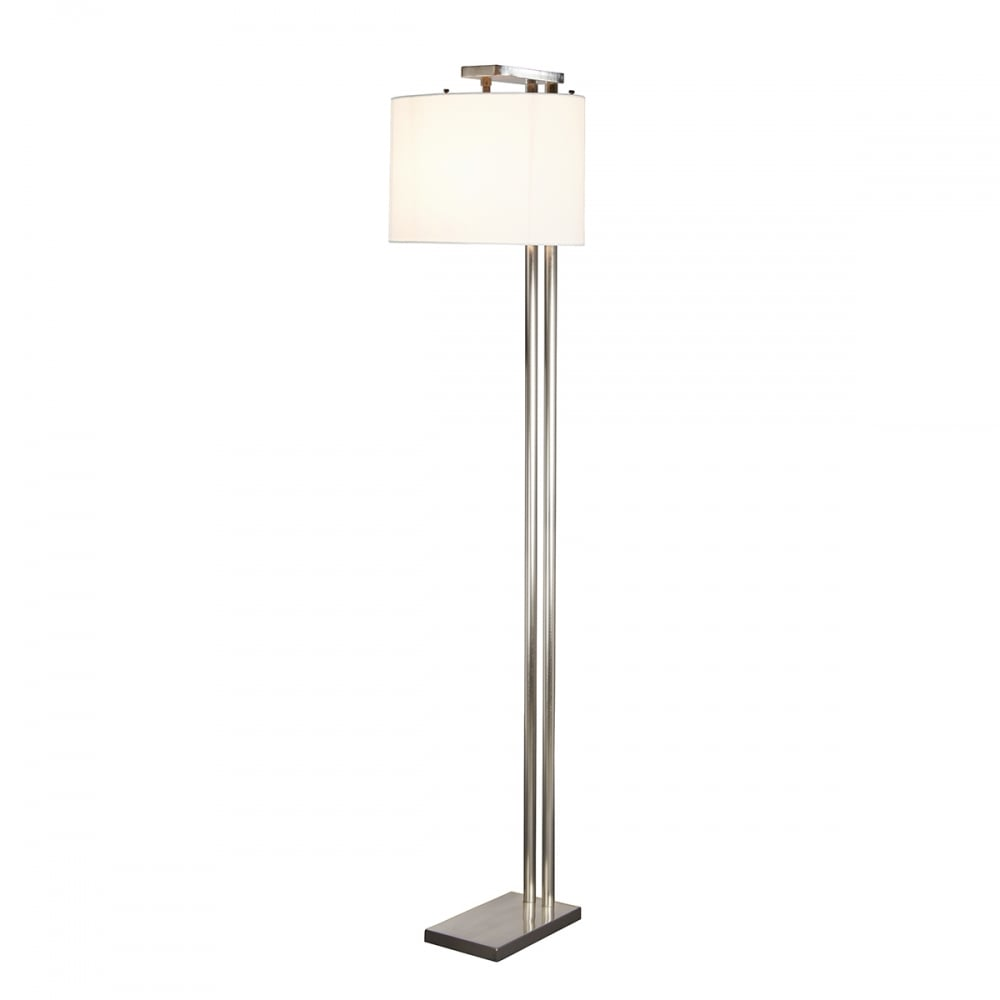 Contemporary brushed nickel floor lamp with white fabric shade brushed nickel modern floor lamp with white fabric shade aloadofball Gallery