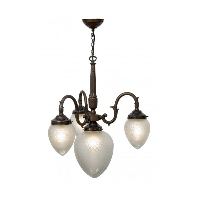 Belvedere Collection PINESTAR antique Victorian or Edwardian ceiling light with cut glass shades
