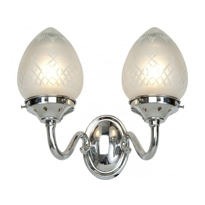Belvedere Collection PINESTAR Art Deco double wall light in chrome and etched glass