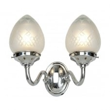 PINESTAR Art Deco double wall light in chrome and etched glass