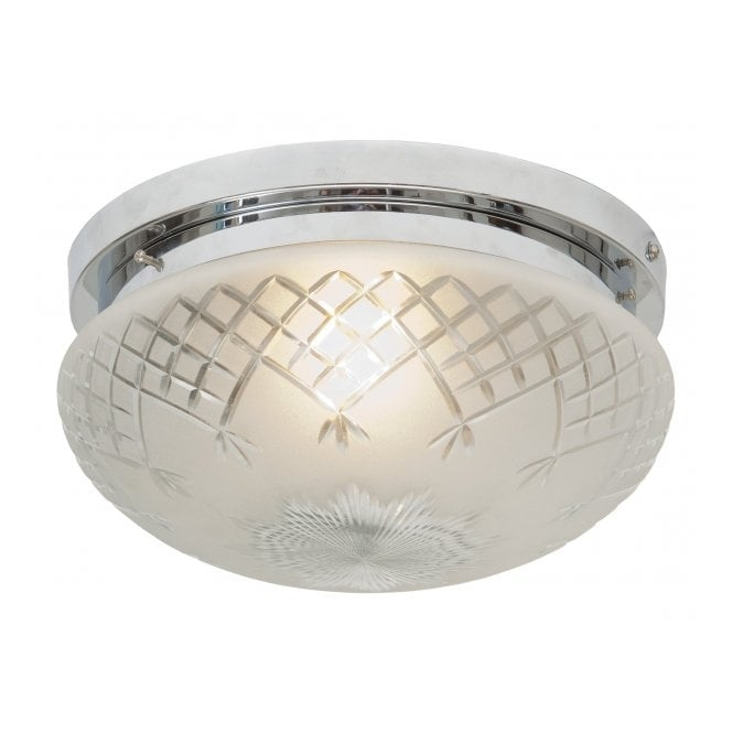 Belvedere Collection PINESTAR Art Deco flush fitting etched glass low ceiling light (medium)