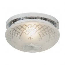 PINESTAR Art Deco flush fitting etched glass low ceiling light (medium)