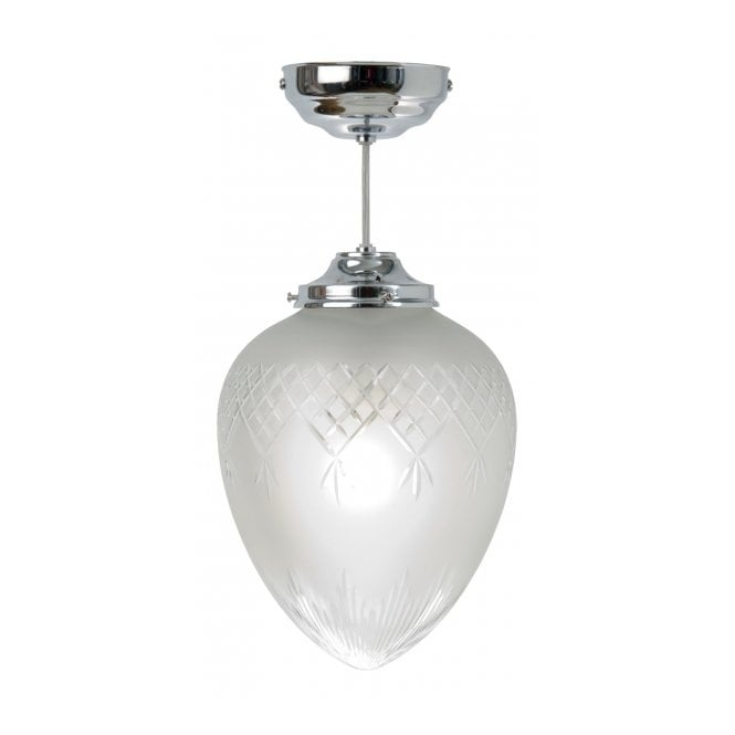 Belvedere Collection PINESTAR chrome and etched glass Art Deco hall pendant (medium)