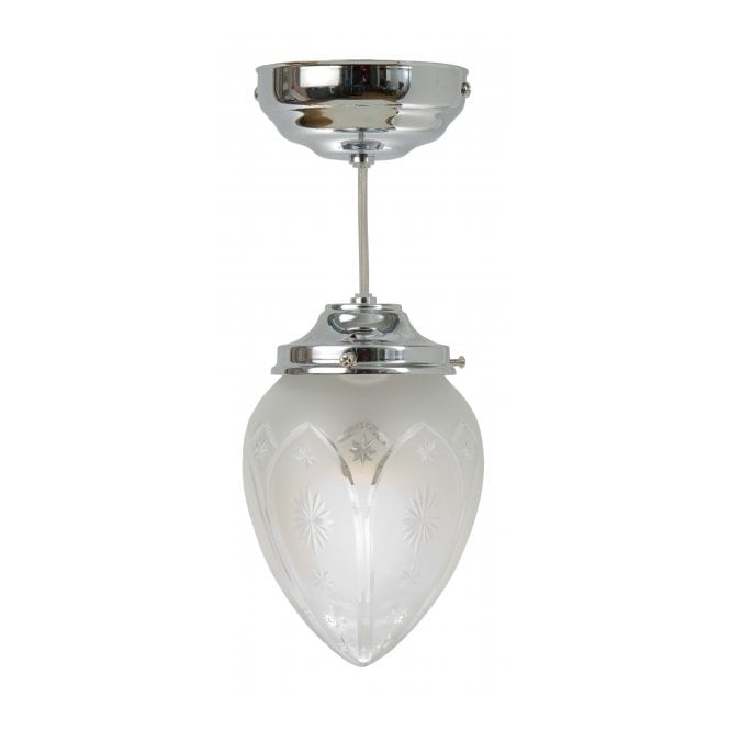 Belvedere Collection PINESTAR chrome and etched glass Art Deco hall pendant (small)