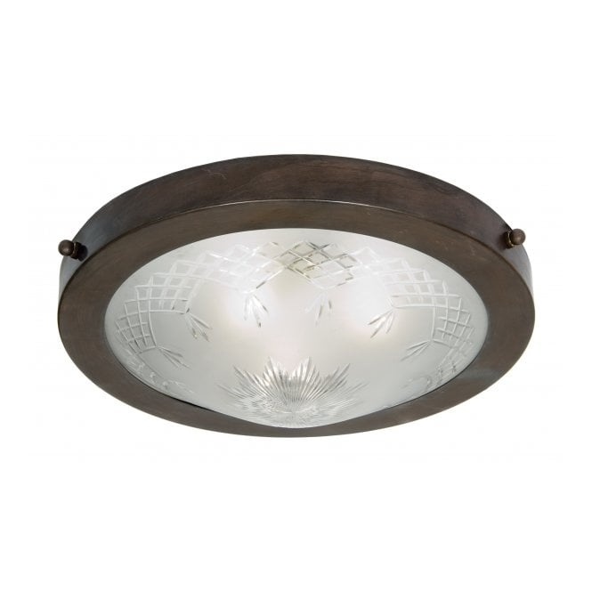 Belvedere Collection PINESTAR traditional circular flush fitting low ceiling light, etched glass shade