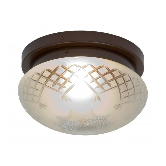 Belvedere Collection PINESTAR traditional flush fitting etched glass low ceiling light (large)