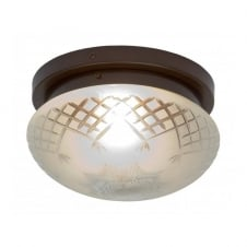 PINESTAR traditional flush fitting etched glass low ceiling light (large)